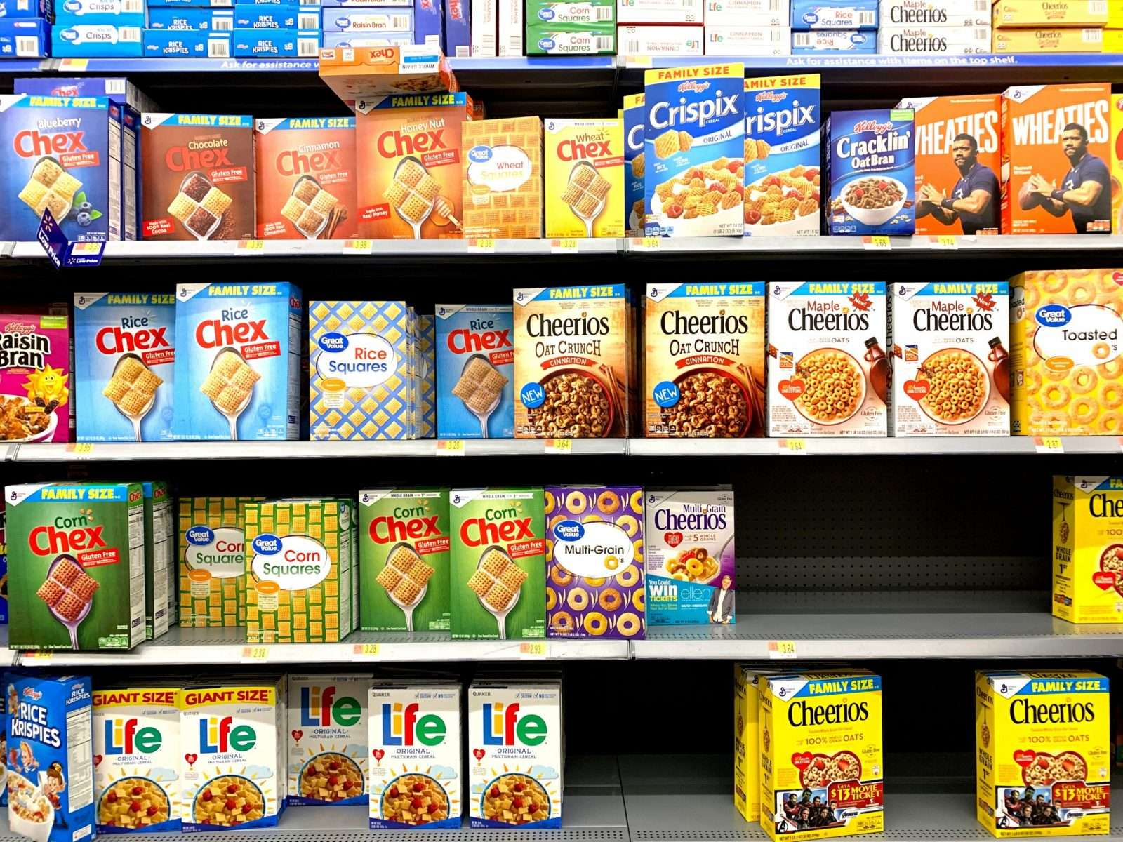 Cereal on a grocery store shelf