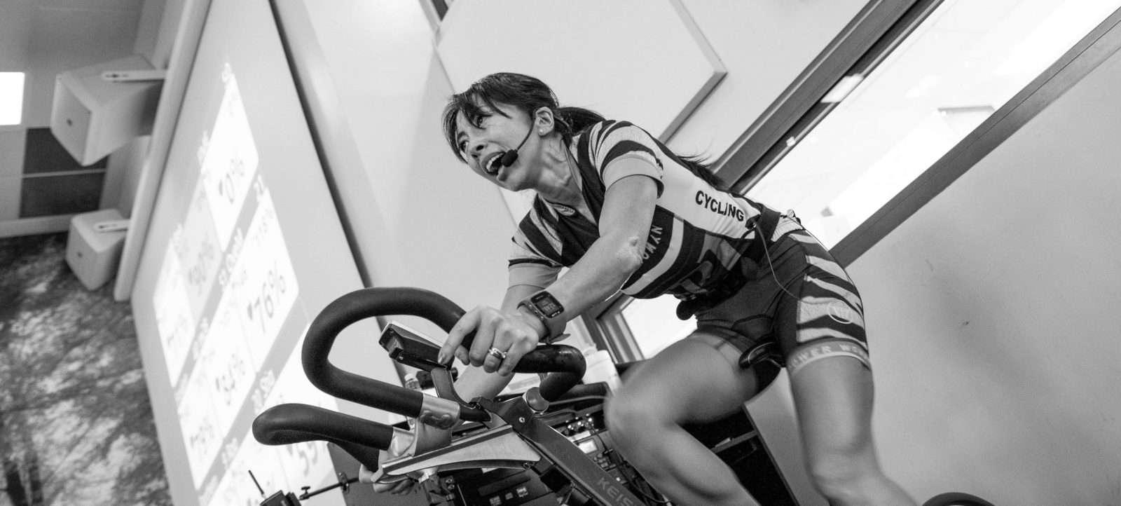 Female instructor on bike