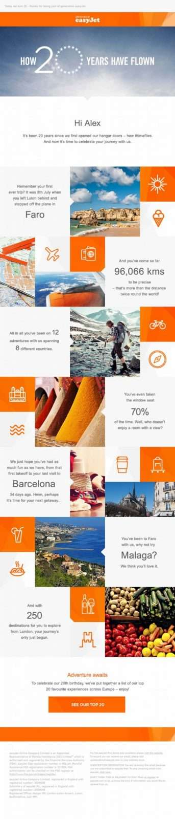 EasyJet Personalized Email Campaign