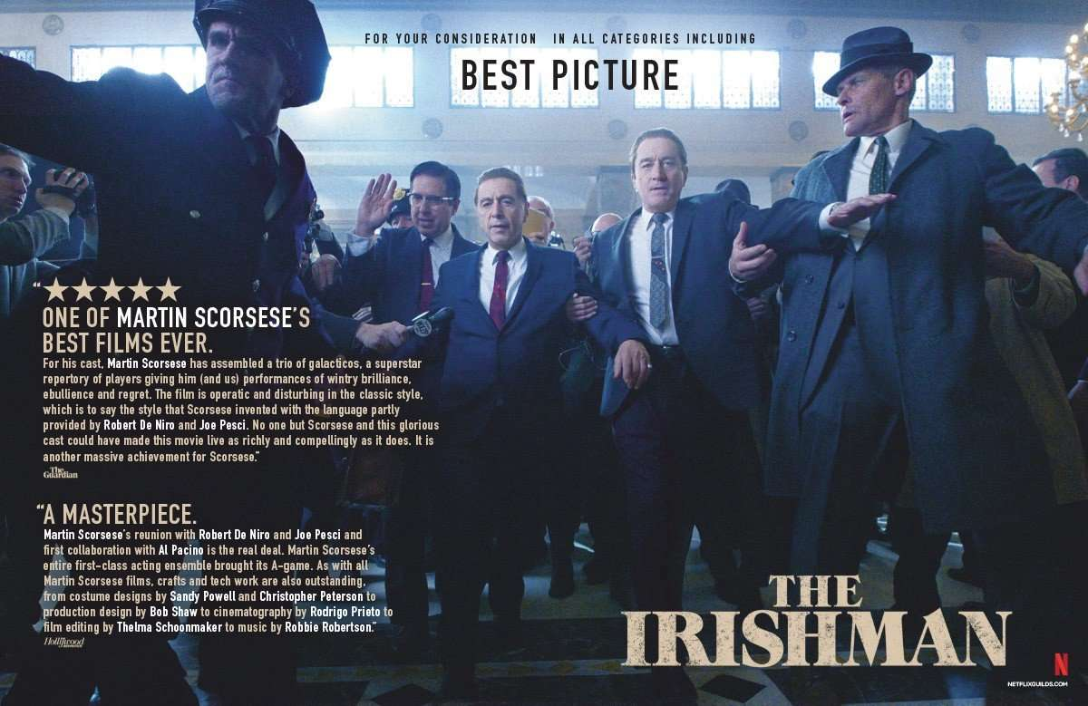 An example of an awards season ad for The Irishman; Source: Google Images